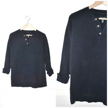 button up PULL OVER vintage 90s GRUNGE black cotton waffle shirt os