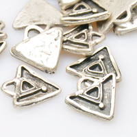 5 Pieces Silver Plated Triangle Charms, Jewelry Findings, Jewelry Making Supply, Boho Jewelry Findings