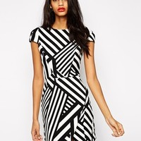 ASOS Bonded Asymmetric Stripe Dress