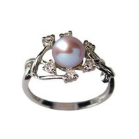 Amazon.com: Entwining Vine Cultured Pearl Cubic Zirconia Ring in Platinum Overlay CAREFREE Sterling Silver, Lavender Size 8 (Size 5, 6, 7, 8, 9): Dahlia: Jewelry
