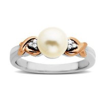 Amazon.com: Sterling Silver and 14k Pink Gold 7mm Freshwater Cultured Pearl and Diamond Ring (0.03cttw, I-J Color, I3 Clarity), Size 8: Jewelry