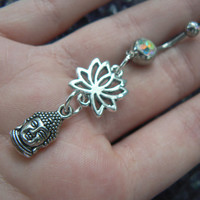 buddha lotus flower belly ring om buddah meditation in zen yoga Indie new age boho gypsy hippie belly dancer beach and hipster style
