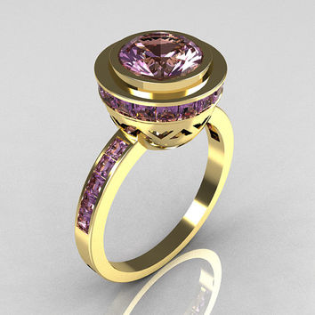 Modern Vintage 14K Yellow Gold 1.50 Carat Round and 1.1 Carat Invisible Square Lilac Amethyst Bridal Ring R78-14YGLAA