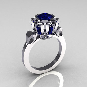 Modern Edwardian 14K White Gold 1.0 Carat Blue Sapphire Baguette Cluster Wedding Ring R305-14WGBS