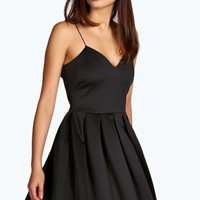 Lucinda Strappy Box Pleat Skater Dress