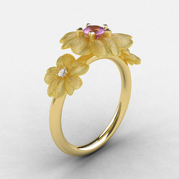 Natures Nouveau 14K Yellow Gold Lilac Amethyst Diamond Flower Engagement Ring NN107S-14KYGDLA