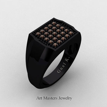 Mens Modern 14K Black Gold Micro Pave Brown Diamond Designer Ring R326M-14KBGBRD