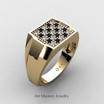 Mens Modern 14K Yellow Gold Chess Pattern Black and White Diamond Designer Ring R326M-14KYGDBD4