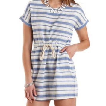 Drawstring Striped Cotton Dress by Charlotte Russe - Lt Blue Combo