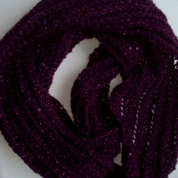 Shiny knitted lace pattern scarf, knitted scarf, knitted lace pattern, handmade womens accessories