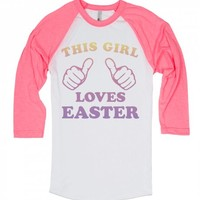This Girl Loves Easter-Unisex White/Neon Heather Pink T-Shirt