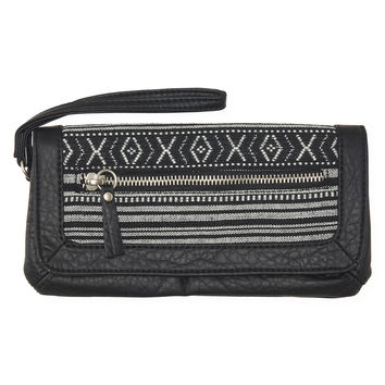 Aeropostale  Tribal Snap Flap Wallet - Black, One