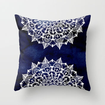 White Lace Medallion on Ink Blue Throw Pillow by Tangerine-Tane