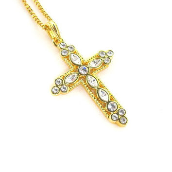 Jacqueline Kennedy 18K Gold Plated Cross Pendant