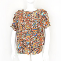 Vintage 90s Short Sleeve Aztec Print Shirt - Size XXL 2X - Boxy Beige Gold Blue Tribal Inspired Hipster Plus Size Women's Blouse
