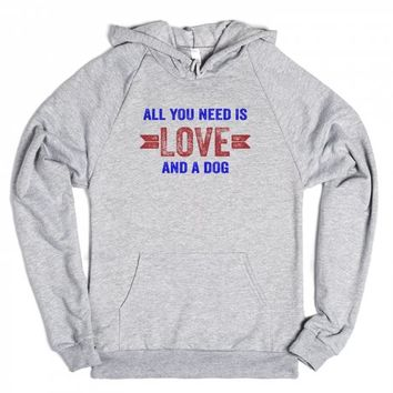 All You Need Is Love And A Dog-Unisex Heather Grey Hoodie