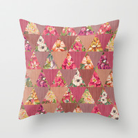 GEOMETRIC MODERN FLOWERS Throw Pillow by Nika