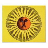 Vintage Celestial Yellow Smiling Happy Hippie Sun Posters
