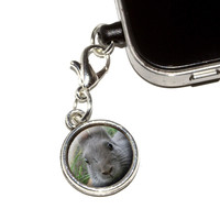 Bunny Rabbit Gray Easter Mobile Phone Charm - No. 1