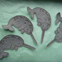4 Narwhal Appliques Iron on Version
