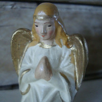 Vintage Chalkware Angel Praying Nativity Replacement or Your Private Collection