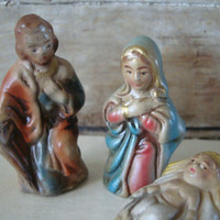 Vintage Nativity Mary Joesph an Jesus  Primitive