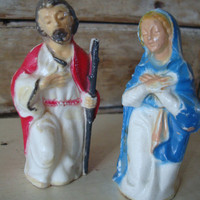Vintage Nativity Mary an Joesph  Plastic Primitive