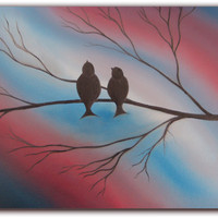 ORIGINAL Abstract Bird Oil Painting, Red White and Blue Modern Tree Art on Canvas, 11 x 14, Free Birds