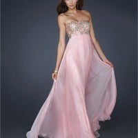 Glamourous A-line Strapless Beaded Bust Floor Length Chiffon Prom Dress PD1955 Dresses UK