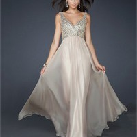 Floor Length A-line V-neck With Sequins Pleated Chiffon Prom Dress PD1929 Dresses UK