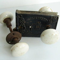 Vintage / Antique Pair of White Porcelain Door Knob by ThirdShift