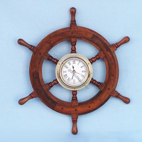 "Ship Wheel Clock 12""  - Ship Wheels -  Wooden Ship Models, Nautical Decor & Gifts - GoNautical"