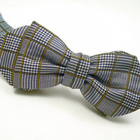 Silk Bat Wing Bow Tie, Mens - &#x27;Houndstooth Check II&#x27;