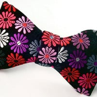 Mens Black Statement Bow Tie - Pure Silk -  &#x27;Daisy Pop&#x27;