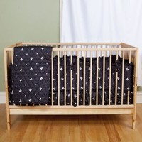 Skull and Crossbones Print Baby Bedding - Pirate Baby Bedding by Sin in Linen