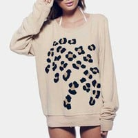 Wildfox Couture Leopard Spots Baggy Beach Jumper in Ghost Tan