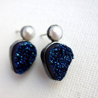 Oxidized Blue Drusy Studs with Pearls - Completely Handmade by Rachel Pfeffer