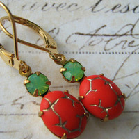 Estate Earrings, Coral and Green Opal Glass Earrings, Vintage Green and Coral Glass Brass Lever Back Earrings, Bridesmaid Earrings