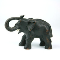 Vintage Wooden Elephant Hand Carved Black Ivory Tusks Safari Africa