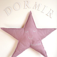 Star Shaped Cushion or Pillow French - Shh...Je Dors... (Shh... I am Sleeping) - Purple Cotton