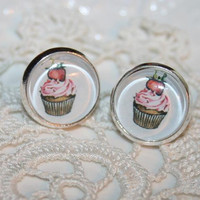 Cup Cake Earrings, CupCake Ear Posts, Cup Cake glass dome and Silver Stud Earrings, CupCake Jewelry -Etsy gift