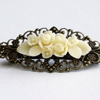 Clip Hair Barrette - Cream Flower Bouquet - Bride Choice