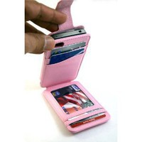 New Navor Flip Wallet Card Leather Case for iPhone 4 4S Light PINK Color for AT&T, Verizon, Sprint, Rogers, Fido etc - Multifunctional Cover Pockets Slots for Driving License Bank Card