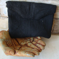 Vintage Green Retro Black Clutch Purse 1940'ish