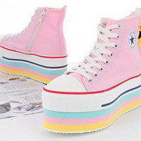 Maxstar CN9 8 Holes Zipper Double Platform Sneakers Pink