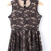 Black Sleeveless Embroidery Ruffles Dress - Sheinside.com