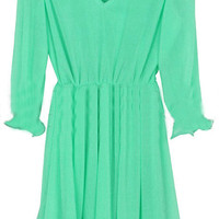 Green V Neck Long Sleeve Pleated Dress - Sheinside.com