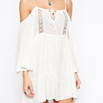 Glamorous Petite Cold Shoulder Cheesecloth Swing Dress With Crochet Detail