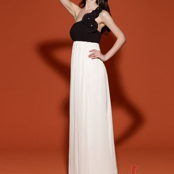 A-line One Shoulder Floor-length Chiffon Best-Selling Prom Dress with Hand-Made Flower at Msdressy