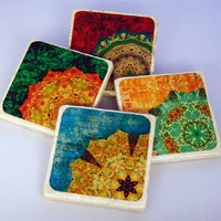 Supermarket - Rich Color Collection - stone drink coasters from The Painted Lily